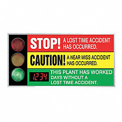 Safety Scoreboard, 36 x 72In, AL/PLSTC, ENG