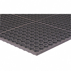 Drainage Mat, Rubber, Black, 3x10 ft.