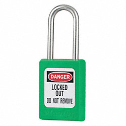 Lockout Padlock, KA, Green, 3/16In., PK12