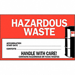 Hazardous Waste Label, 4 In. H, PK 50