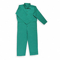 Flame-Resistant Coverall, Green, 3XL, HRC2