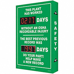 Safety Record Signs, 36 x 24In, AL, ENG