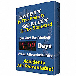 Safety Record Signs, 29 x 20In, AL, ENG