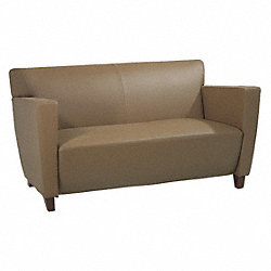 Loveseat, Taupe Leather, Cherry Finish