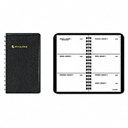 Planner, Weekly, 2-1/2 x 4-1/2in, Black