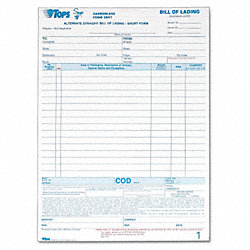 Bill of Lading Form, 8-1/2 x 11