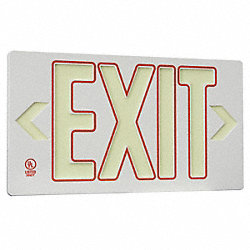 Exit Sign, 8-3/4 x 15-3/8In, GRN and R/GRA