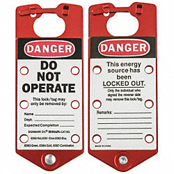 Labeled Lockout Hasp, Snap-On, 6 Lock, PK 5