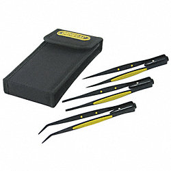 Tweezer Set, LED, Steel, Black, 3 Pcs