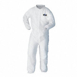 Disposable Coveralls, Wht, Elastic, XL, PK25