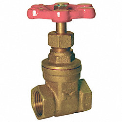 Gate Valve, Brass, 1/2In, FNPT, Non-Rising