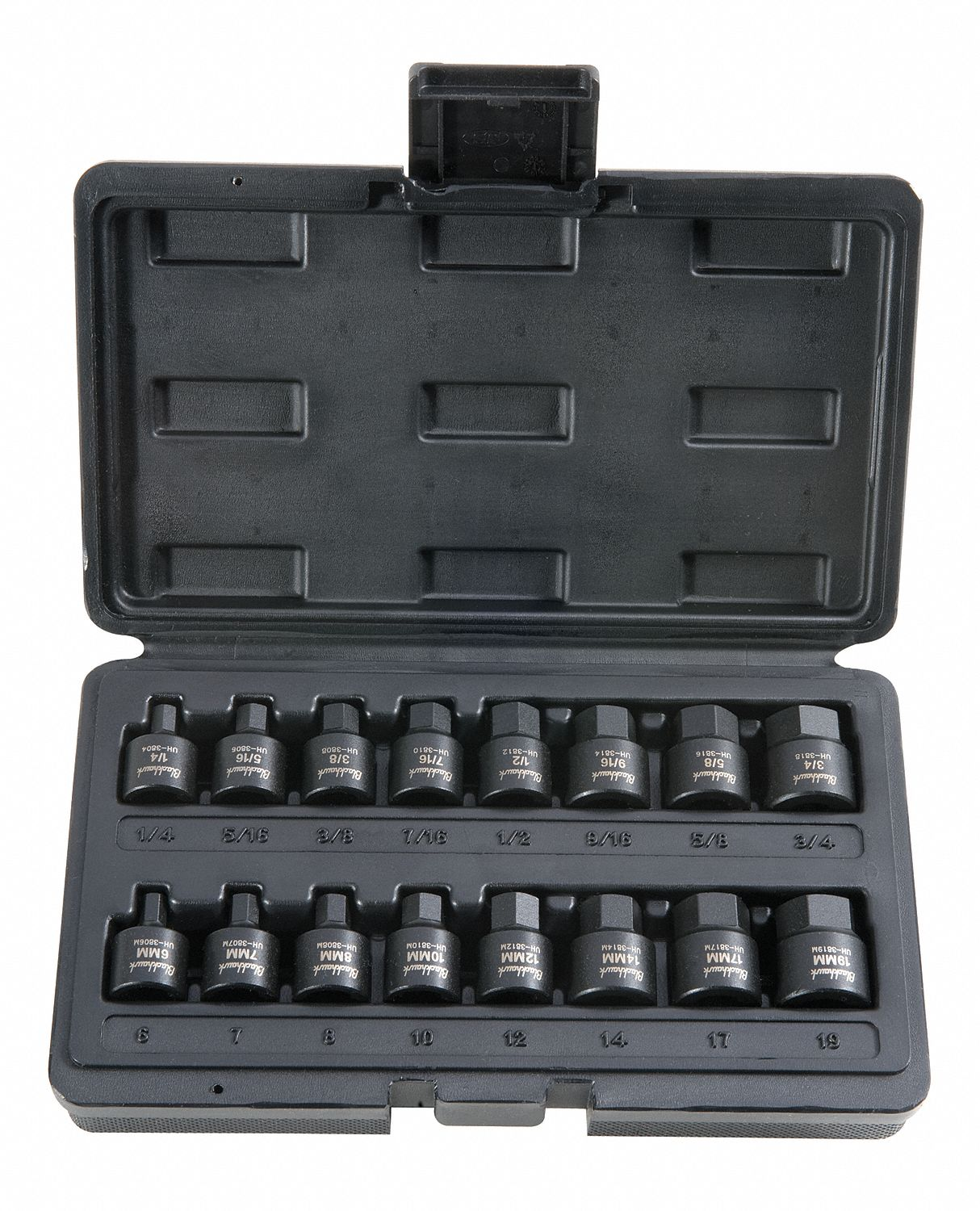 BLACKHAWK BY PROTO Socket Set, 3/8 In Dr, SAE, Impact, 16 Pcs by Blackhawk by Proto UH-3816CS at Sears.com
