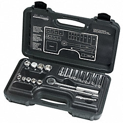 Socket Set, 3/8 In Dr, SAE, Standard, 20 Pcs