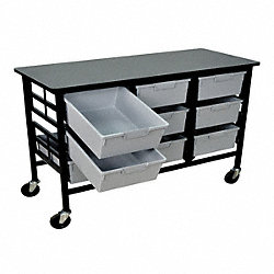 Mobile Bin Cart, Gray, 62-3/4 In. L