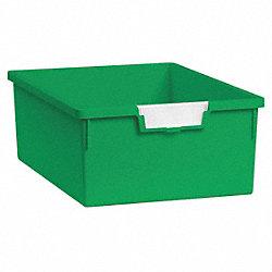 Storage Tray, Double, Length 12-1/4, Green