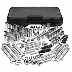 Socket Set, 1/4, 3/8, 1/2, SAE, Chrome, 148 Pc