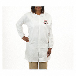 Disp. Lab Coat, L, Microporous, White, PK50