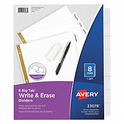 Index Tab Set, Write-On, 8 Tabs, White
