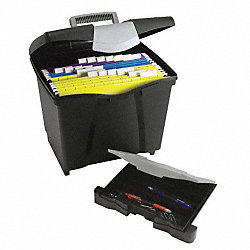 File Storage Box with Drawer, Letter, Blk