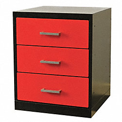 Drawer Pedestal, 18 x 24 x 32H, Black/Red