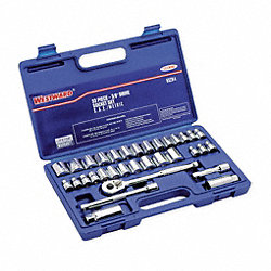 Socket Set, SAE/Metric, 3/8 Dr, 33 Pc