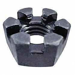 Hex Locknut, Slotted, 5/16-18, PK 100