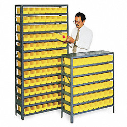 Bin Shelving, Solid, 36X12, 96 Bins, Yellow