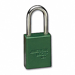 Lockout Padlock, KA, Green, 1/4 In., PK12