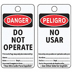 Danger Bilingual Tag, 5-3/4 x 3 In, PK25