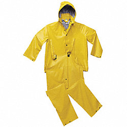 3-Piece Rainsuit w/Detachable Hood, Ylw, L