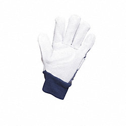 Leather Gloves, Knit Wrist, S, White, PR