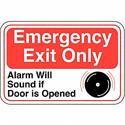 Emergency Exit Sign, 6 x 9In, R and BK/WHT