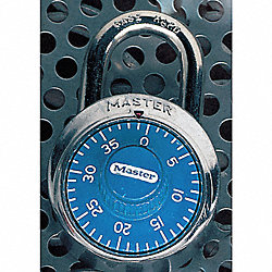 Combination Padlock, Blue/Chrome