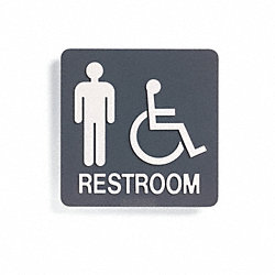Restroom Sign, 8 x 8In, WHT/Brittany BL