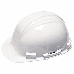 Hard Hat, FrtBrim, Slotted, 4PinLk, White