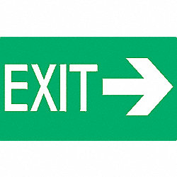 Exit Sign, 8 x 12In, Glow/GRN, Exit, ENG