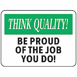 Quality Control Sign, 7 x 10In, ENG, Text