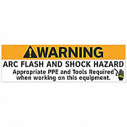 ARC Flash Warning Label, 5 In. H, PK 5