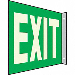 Exit Sign, 7 x 10In, WHT/GRN, Exit, ENG, Text