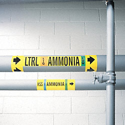 Ammonia Pipe Marker, HPL, 1 to 2-1/2In