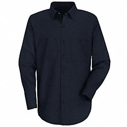 Lng Slv Shirt, Nvy, 65% PET/35% Ctn, XL