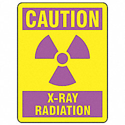 Caution Radiation Sign, 10 x 7In, Pink/YEL