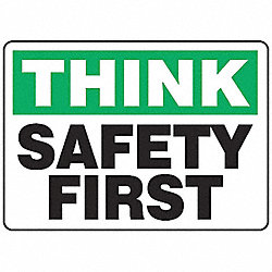 Think Safety Sign, 7 x 10In, PLSTC, ENG