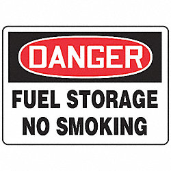 Danger No Smoking Sign, 10 x 14In, AL, ENG