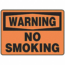 Warning No Smoking Sign, 7 x 10In, BK/ORN