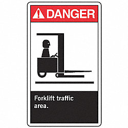 Forklift Traffic Sign, 14 x 10In, AL, ENG