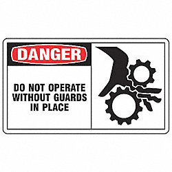 Safety Label, 3-1/2 In. H, PK 5