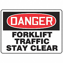 Forklift Traffic Sign, 10 x 14In, AL, ENG