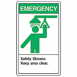Safety Shower Sign, 14 x 10In, ENG, SURF