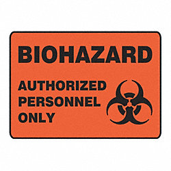 Biohazard Sign, 7 x 10In, BK/ORN, PLSTC